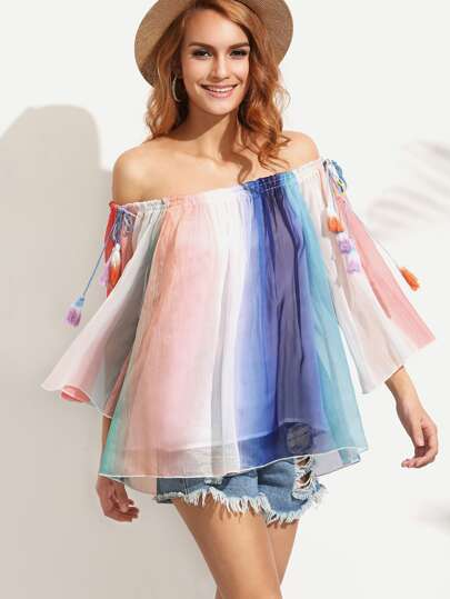 Multicolor Tassel Tie Off The Shoulder Blouse