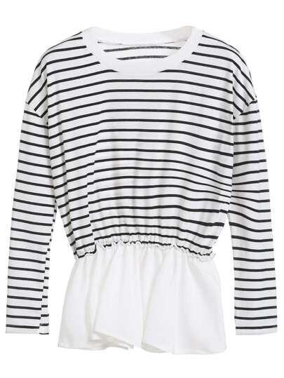 Black White Striped Elastic Waist Peplum Top