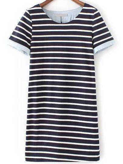 Navy Stripe Contrast Cuff T-shirt Dress