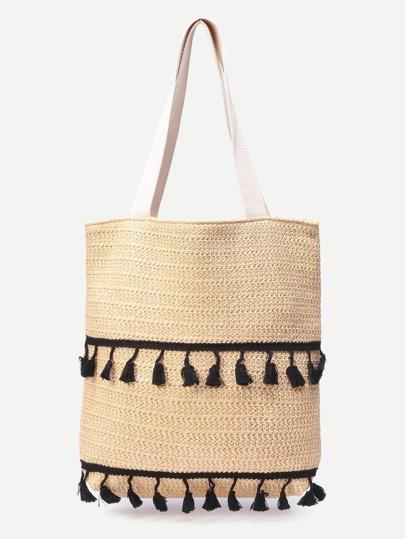 Beige Tassel Detail Straw Tote Bag