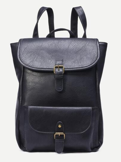 Black Faux Leather Buckle Flap Backpack