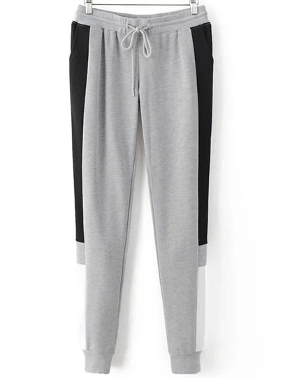 Grey Color Block Drawstring Waist Sports Pants