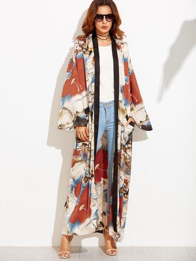 Kimono contrasté imprimé fleur avec ceinture - multicolore