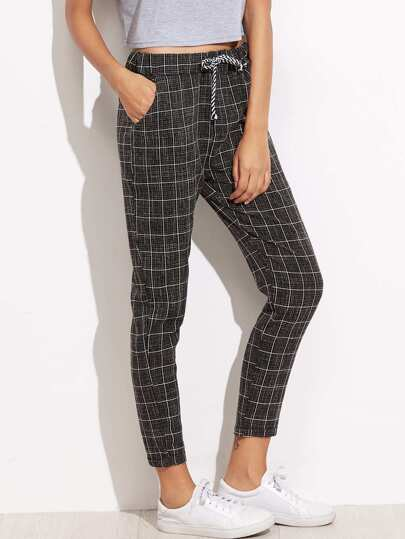 Grid Print Tie Waist Tapered Leg Pants