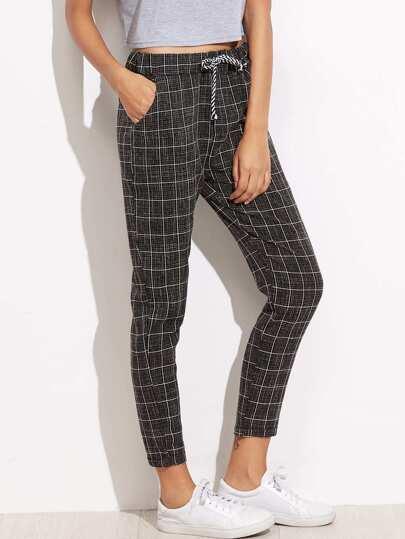 Pantalones de cuadros con lazo en la cintura - negro