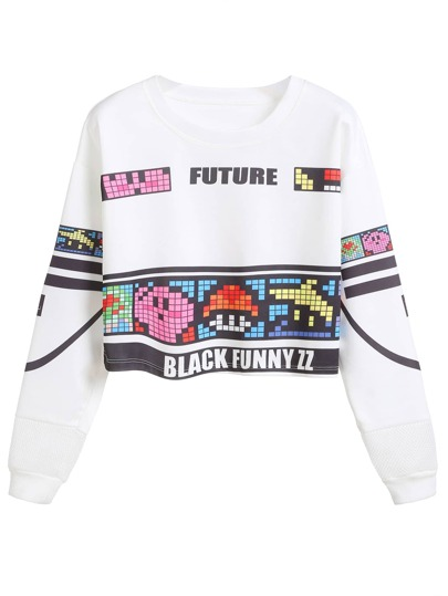 White Graphic Print Drop Shoulder Crop Sweatshirt