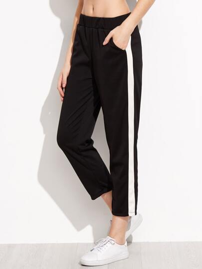 Black Striped Side Pockets Pants