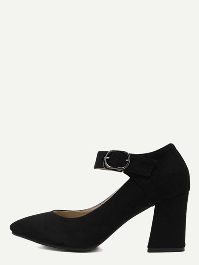 Black Faux Suede Pointed Toe Ankle Strap Pumps