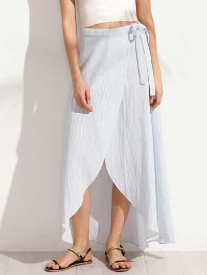 Blue Striped Tie Waist Skirt