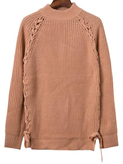Khaki Mock Neck Lace Up Textured Sweater