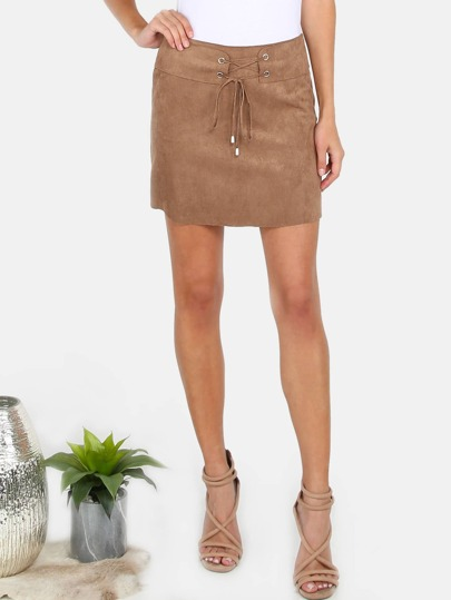 Faux Suede Lace Up Skirt BROWN