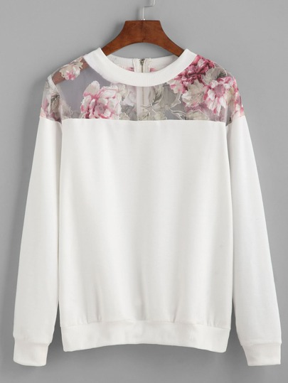 Florals Mesh Yoke Zipper Back Sweatshirt