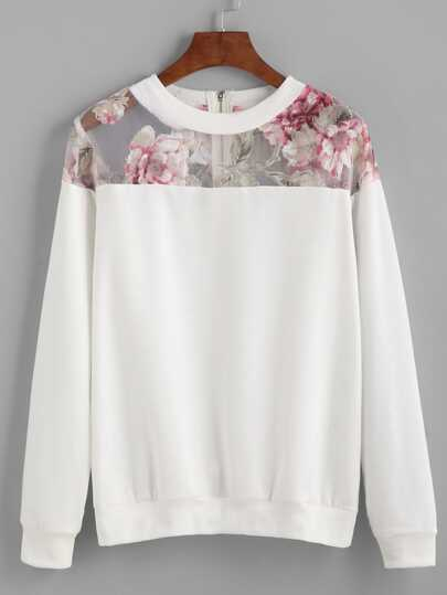White Florals Mesh Insert Zipper Sweatshirt