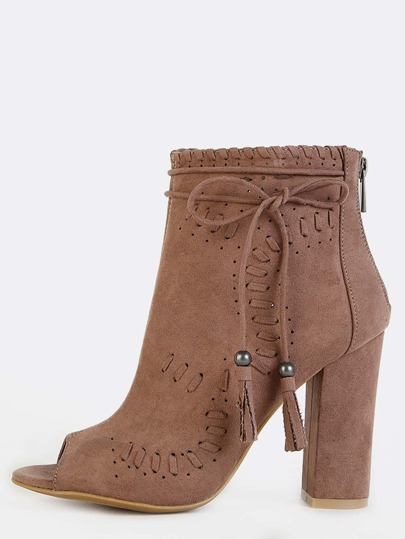 High Shaft Peep Toe Embroidered Boots TAUPE