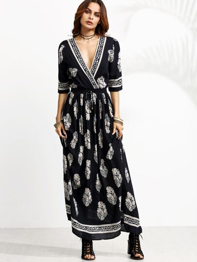 Navy Print Deep V Neck Drawstring Wrap Dress