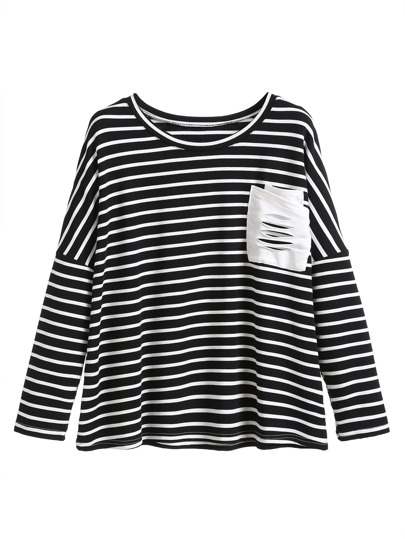 Contrast Striped Drop Shoulder Pocket Trim T-shirt