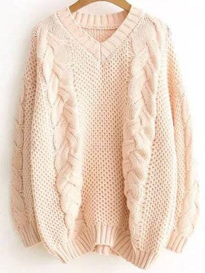 Pink V Neck Cable Knit Loose Sweater