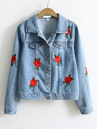 Blue Flower Embroidery Single Breasted Denim Jacket