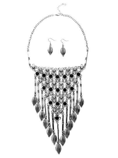 Antique Silver Leaf Fringe Vintage Statement Jewelry Set