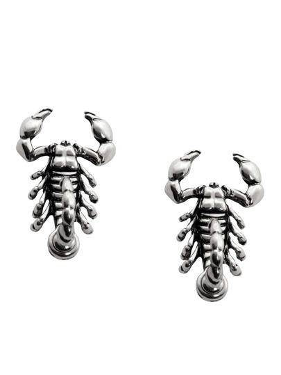Antique Silver Scorpion Stud Earrings
