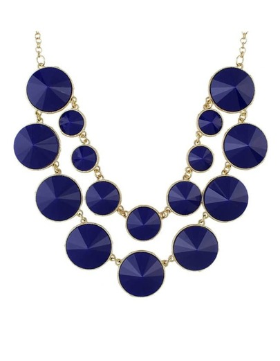 Blue Double Layers Statement Necklace