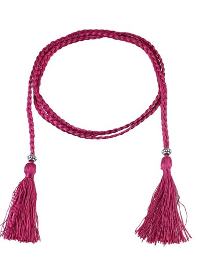 Hotpink Long Boho Casual Tassel Belt