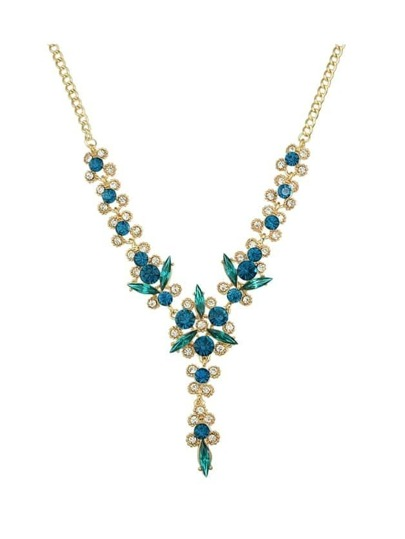 Blue Elegant Flower Wedding Necklace For Women