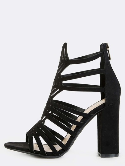 Open Toe Diamond Cut Out Chunky Heels BLACK
