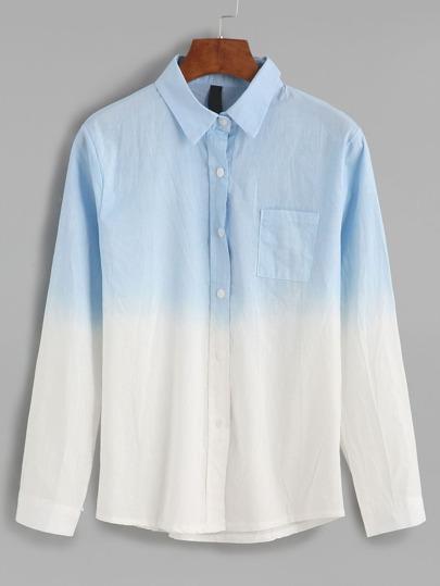Ombre Sharp Collar Pocket Shirt