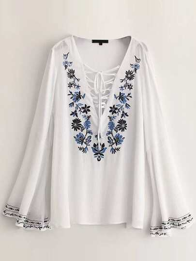 White Embroidery Lace Up Bell Sleeve Blouse
