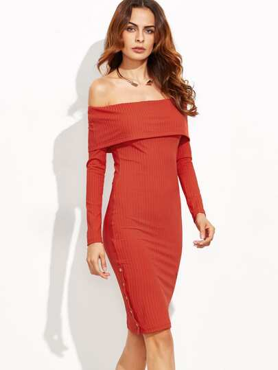 Red Foldover Off The Shoulder Button Side Ribbed Dress