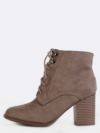 Lace Up Suede Ankle Boots TAUPE