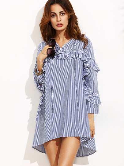 Blue Stripe Ruffle Trim Long Sleeve High Low Dress