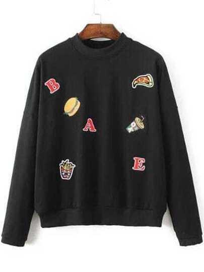 Black Hamburger Embroided Drop Shoulder Sweatshirt