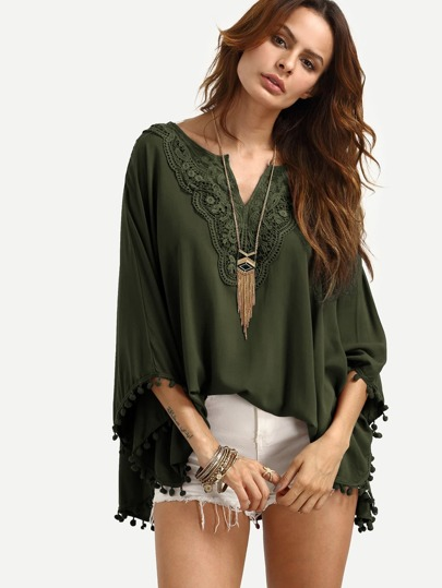 Army Green V Neck Crochet Lace Pom Pom Trim Blouse