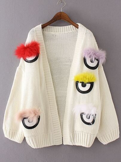 White Feather Eye Embellished Sweater Coat