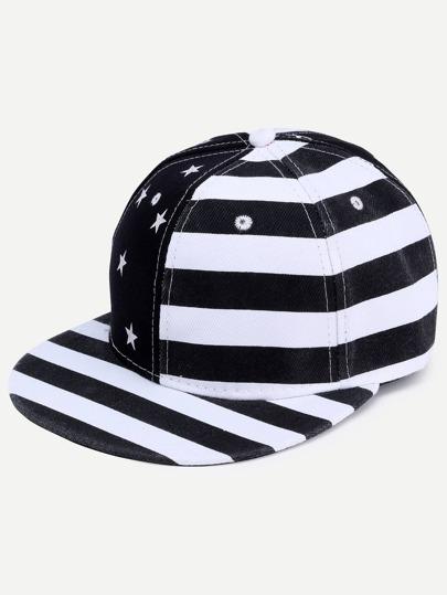 Black And White USA Flag Hip Hop Baseball Cap
