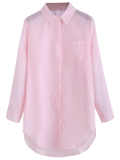 Pink Striped Curved Hem Shirt