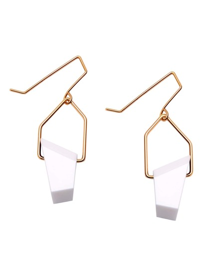 Gold Plated White Geometric Stone Drop Earrings