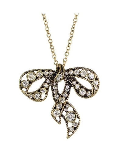 At-Gold Rhinestone Bowknot Pendant Necklace