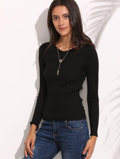 Black V Neck Long Sleeve Knitted T-shirt