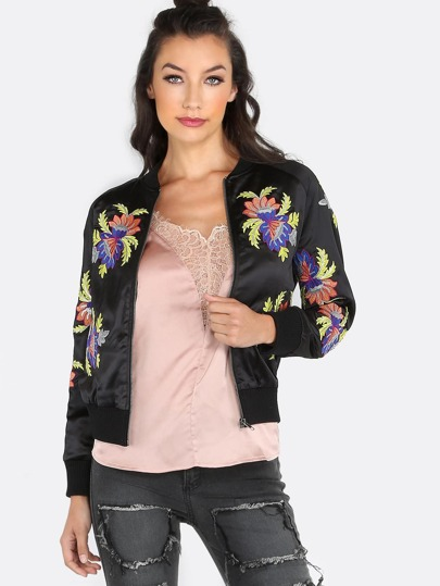 Floral Patched Satin Bomber Jacket BLACK