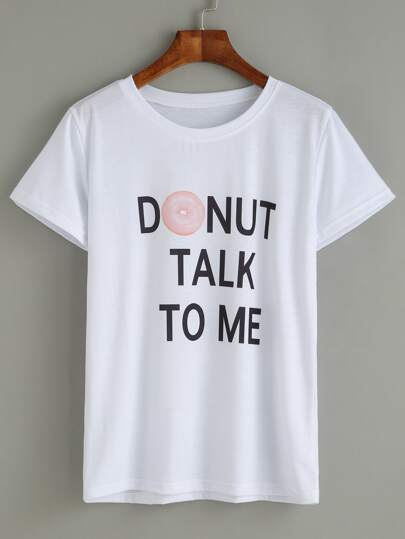 White Donut And Slogan Print T-shirt