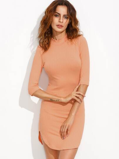 Orange Mock Neck Curved Hem Ribbed Sheath Dress