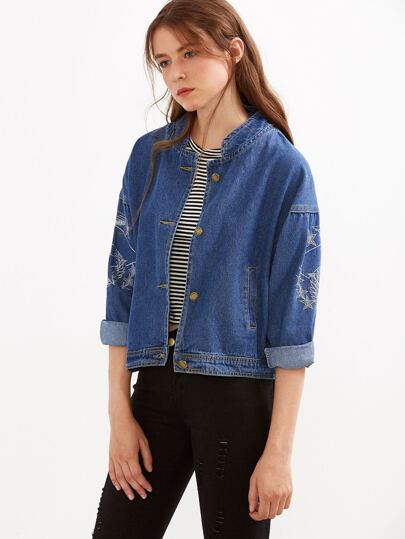 Blue Stand Collar Embroidery Drop Shoulder Denim Jacket