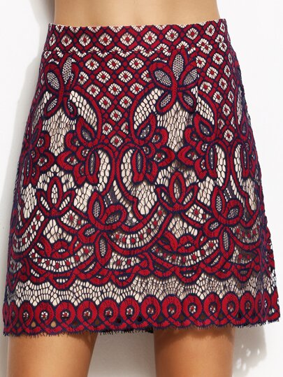 Burgundy Lace A Line Skirt