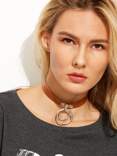 Coffee Faux Leather Double O Ring Choker Necklace