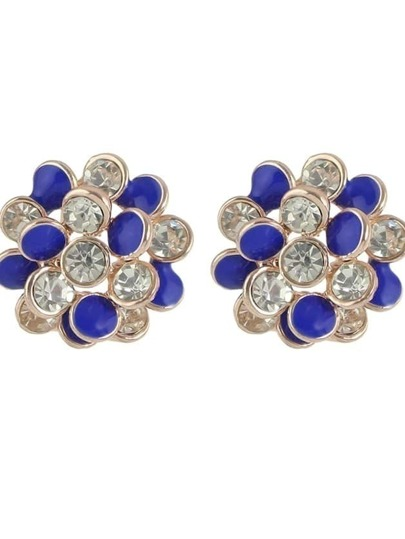 Blue New Rhinestone Enamel Flower Stud Earrings For Women