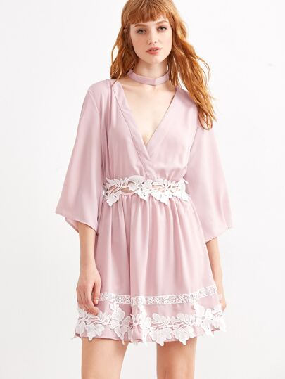 Pink Deep V Neck Appliques Dress With Choker