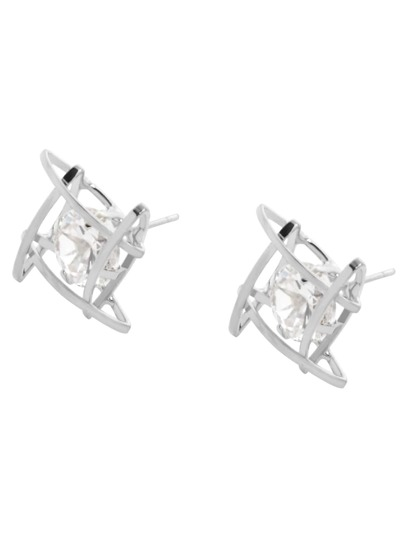 Silver Plated Rhinestone Geometric Hollow Out Stud Earrings